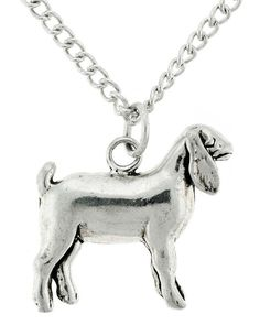 FFA & 4H Stock Show Wether Goat Necklace in Sterling Silver - Free Chain