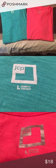 Cute 2 for 1 tees 2 for 1 cute tees! Worn a few times but good condition. jcpenney Tops Tees - Short Sleeve