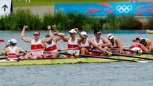 Canada's men's eight rowing team members Gabriel Bergen, right to left, Douglas Csima, Rob Gibson, Conlin McCabe, Malcolm Howard, Andrew Byrnes, Jeremiah Brown, Will Crothers, and cox Brian Price win silver at Eton Dorney during the 2012 Summer Olympics in Dorney, England on Wednesday, August 1, 2012. (The Canadian Press)
