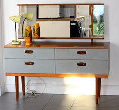 vintage teak mid century 1960's dressing table / sideboard with contemporary hand painted detailing in grey and orange