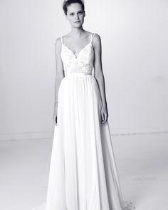 Alyne by Rita Vinieris Spring 2018 Wedding Dress Collection | Martha Stewart Weddings – A-line wedding dress with spaghetti straps