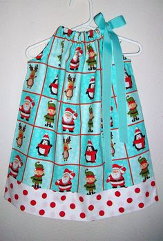 Christmas Dress with Santa Pillowcase Dress by lilsweetieboutique