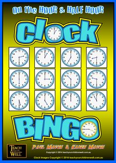 Clock BINGO - On the HOUR and HALF HOUR contains 32 Bingo Cards plus a few sets of call cards.   We have provided CALL CARDS in both DIGITAL and ANALOG. This is so the teacher or student (calling) has the option of using either one.