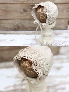 neutral linen-newborn bonnet-newborn photography prop-cotton lace-linen rosettes