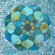 """""""Turquoise Lotus Flower"""", stained glass mosaic, 22"""" x 22"""", 2013 by Kasia Polkowska Visit Kasia Mosaics on Facebook to see more mosaic art by Kasia: https://www.facebook.com/KasiaMosaics mosaic is available for purchase: http://kasiamosaicsstore.blogspot.com/"""