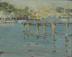 """""""Old Pier Gloucester,"""" Jane Peterson, oil on artist board, 10-1/2 x 13-1/2"""", private collection."""