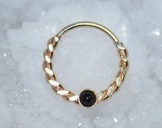 Septum or bague 14g - 2mm Onyx Hoop nez - Tragus boucle d'oreille créole - Cartilage Hoop boucle d'oreille - bague de nez - mamelon anneau - tour bijoux