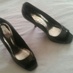 BCBG Black Open toe Classic Heel Slightly worn sexy heel w open toe.  Great for work to casual.  Wear to the office and switch into jeans w a sexy heel after work.  Comfortable heel. BCBGeneration Shoes Heels