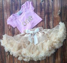 First Birthday, Outfit, cream, pettiskirt set, one year old, 1, petti skirt, chiffon, girls, skirt, pink, gold, party, t-shirt