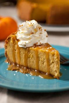 Pumpkin Cheesecake with Salted Caramel Sauce - This is Heavenly!