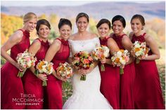 Bride and Bridesmaids - Berkshire County Fall Wedding - Tricia McCormack Photography