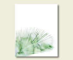 Watercolor palm leaf printable mint green wall art decor digital print instant…
