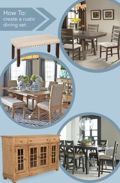 Step out of dated and traditional and step into modern and rustic! These dining room sets will have your guests seated far beyond the main course. Follow these steps to create your own rustic set!   •Start with a traditional table with a ladder pedestal base like the Jax 5pc Dining •A distressed finish is key – like the Omaha 5pc Dining set with a weathered grey finish •Pair your table with the Harbor View Buffet with felt lined drawers for extra storage