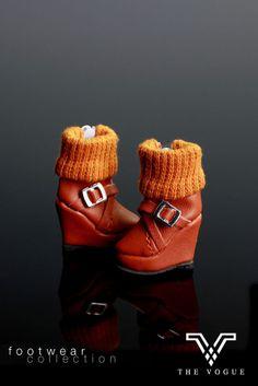 B624 The Vogue Orange Wedge Platform Ankle Boots Shoes for FR Barbie