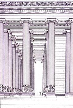 Ionic order - Temple of Artemis at Ephesos 550 BC - rebuilt in 356 BC. reconstruction illustration