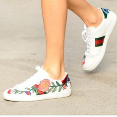 GUCCI Low-Top popular GUCCI 17SS floral embroidery sneakers 7