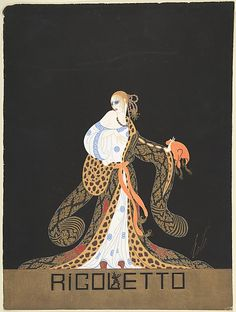 """Erte, 1922. Design for Blue and White Dress and Leopard-lined Robe for Ganna Walska in """"Rogoletto"""" the by the Chicago Opera Company"""