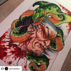 "383 aprecieri, 8 comentarii - Japanese Tattoo Art (@japanesetattooart) pe Instagram: ""Namakubi and snake by @jamestex #japanesetattooart #japanesetattoos #japanesetattoo #japaneseart…"""