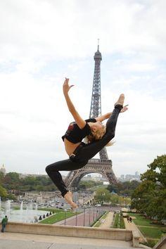 Irina Kasakov. Eiffel Tower, Paris. by Sofia Art. Sure, I could leap just like this!