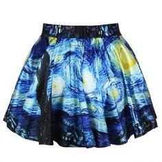Starry Night Art Women Casual High Waist Ball Gown Pleated Bubble Skater Skirt | eBay