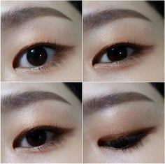 Single eyelids Back double eyelids Korean eye makeup Asian Makeup Monolid, Monolid Eyes, Korean Makeup Tips, Korean Makeup Tutorials, Skin Makeup, Makeup Eyeshadow, Beauty Makeup, Makeup Inspo, Makeup Inspiration
