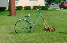 Awesome! Looks like a green version of the Schwinn I had as a kid. And I use an old reel mower for my lawn. Wait til the neighbors see this... :)