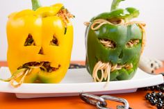 Stuffed Jack o' Lanterns, or 'spooky peppers drooling 'pasta'! (Mine would be veggie noodles of course!) http://izeko.hubpages.com/hub/20-Fabulous-Halloween-Food-Ideas