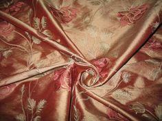 "Embroidered Silk Dupioni Fabric ~ Run for the Roses ~ Vintage Pink ~ 54"" wide"