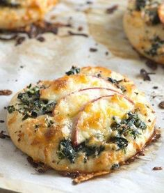 Mini Apple and Spinach Pizzas