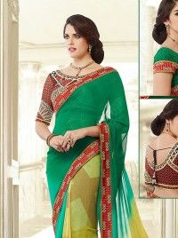 Green Faux Georgette Designer Saree With Dual Blouse