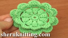Crochet Puff Stitch Flower Tutorial 92 http://sheruknitting.com/videos-about-knitting/crochet-flower-lessons/item/794-crochet-puff-stitch-flower-tutorial-92.html In crochet flower tutorial we will be making this interesting crochet puff stitch double layered flower.