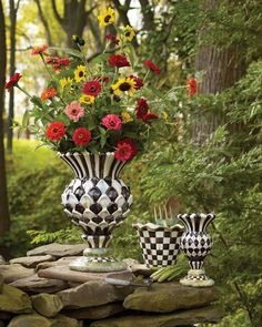Courtly Check inspired Thistle Urn and Vase.