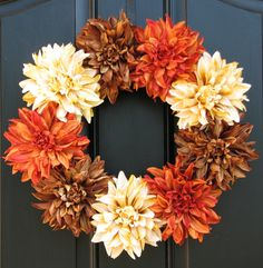 Autumn Spice, Fall, Autumn Wreaths, Fall Decor, Front Door Wreaths, Holidays, Oktoberfest, Harvest. $65.00, via Etsy.