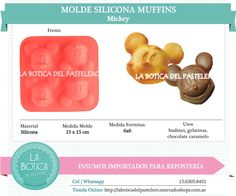 Categoría: Molde Silicona cake pop, tortas, muffins, chocolatero  Producto: molde silicona Muffins  Modelo: Mickey Presentacion: 1 molde 4 cavidades Importado