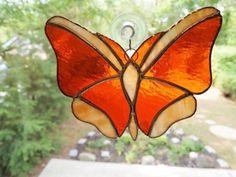 Stained Glass Butterfly Suncatcher by GlassofDistinction on Etsy, $14.95 by arlene #StainedGlassButterfly