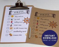 Planning a pirate party and want to get kids excited about hunting for treasure? This scavenger hunt is packed with pirate-themed items that you probably already have lying around, so it's a great way to keep everyone occupied!Older kids will enjoy competing to see who can find everything first, while younger ones can enjoy the hunt at their own pace.We think this looks great printed on brown kraft paper -- or you could even go the extra mile and tea-stain some paper for a really piratey… Pirate Party Games, Pirate Activities, Bachelorette Party Games, Kids Party Games, Birthday Party Games, Activities For Kids, Preschool Pirate Theme, Pirate Fairy Party, Pirate Party Invitations