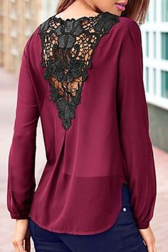 Elegant Back Hollow Out Lace Spliced Asymmetric Chiffon Blouse For Women