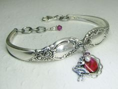 Demitasse Spoon Bracelet, 'Ballad' 1953 with Flamingo, Fuchsia Paua Shell & White Pearls