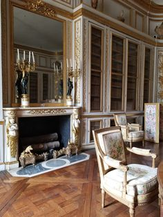 """amislouisxvi: """"Louis XVI's Library at Versailles, designed around the beautiful chimney piece formerly at Fontainebleau. Palace Of Versailles, City Girl, Duke, Castle, Building, Louis Xvi, Room, Beautiful, Magic"""