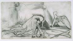 Estudio de composición (VI). Dibujo preparatorio para «Guernica»