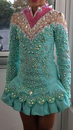 Amazing Blue Shauna Shiels Irish Dance Dress Solo Costume For Sale