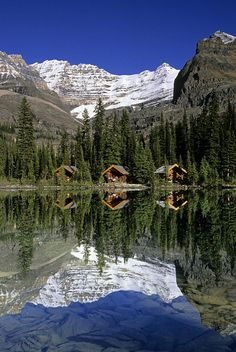 Sargents Point Lake O'Hara Yoho National Park British Columbia :) cabins under the mountain. Relax with these backyard landscaping ideas and landscape design. Vancouver, Yoho National Park, National Parks, British Columbia, Columbia Travel, Rocky Mountains, Places To Travel, Places To See, Belle Photo