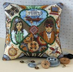 Steampunk Mini Cushion Cross Stitch Kit - Sheena Rogers Designs