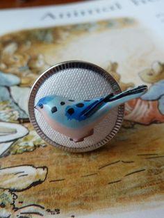 Blue bird on button ring £8.00