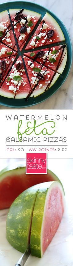 """Watermelon Feta and Balsamic """"Pizzas"""" – a fun summer appetizer or the perfect side dish for anything you grill! combination of watermelon, feta, olives and balsamic. Fruit Recipes, Summer Recipes, Appetizer Recipes, Cooking Recipes, Chicken Recipes, Watermelon Recipes, Grill Appetizers, Rhubarb Recipes, Appetizer Ideas"""
