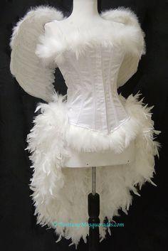 Size XLWhite Angel Burlesque Feather Costume by FantasyMasquerades, $169.99