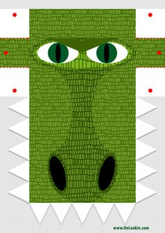 Croc Mask To Cut and Colour for fun