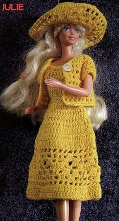 Crocheted yellow dress, bolero and hat. Great directions and diagrams.