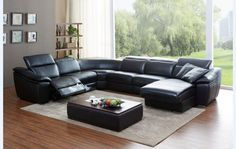 Divani Casa Jasper Modern Black Leather Sectional Sofa - VGKK1728-BLKProduct : 17984Features :Upholstered In Black Genuine Leather/Leather SplitColor Code: M1773/SplitRight Facing Chaise2 Power Recliners - LAFReclining ChaiseAdjustable HeadrestsDimensions :LAF 1 Seater w/ Recliner: W40
