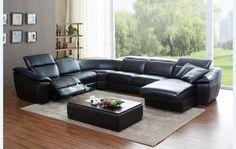 divani casa jasper modern black leather sectional sofa vgkk1728blk